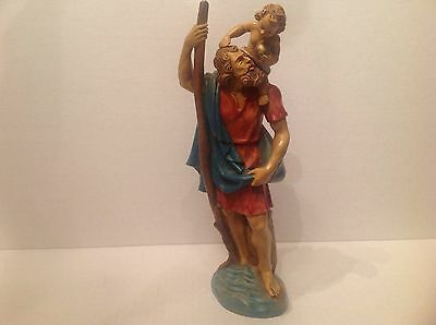 "St.Christopher Carrying Christ Child  Figurine Hard Plastic 10.5"" Tall Italy"