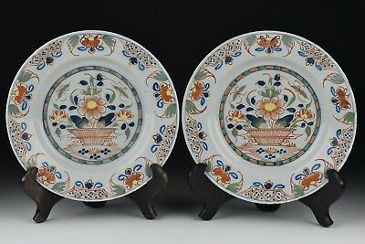 Pair of 18th Century English Delft Pottery Plates