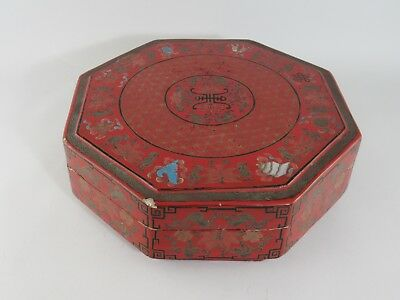 Vintage Large Asian Octagonal Carved Lacquer Ware Storage Box