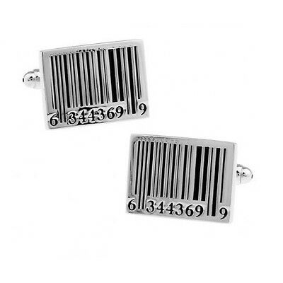 Novelty Barcode Cufflinks Rhodium Plated with Gift Bag