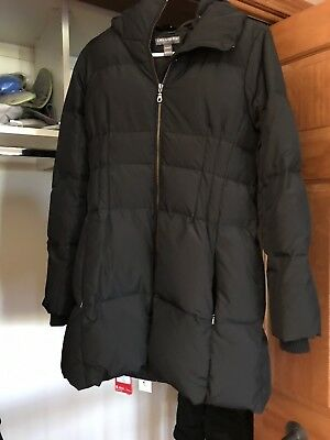 Pea in the Pod - Black down maternity jacket (M)