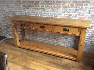 Large solid nibbed oak console table