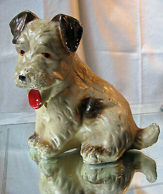 Vintage Carnival Chalk ware Dog (Terrier) 7 Inches 1940's