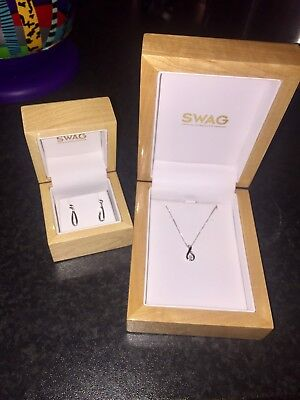 White Gold Diamond Necklace And Earrings Set Swag Jewellers