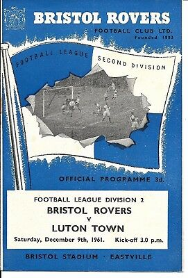 61/62 Bristol Rovers v Luton Town Division 2 on 9th Dec 1961