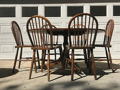 Antique Dinning Table And 6 High Back Chairs Beautiful Solid Oak Wood