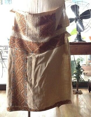 Antique Textile Greek Chiton Tunic Flax Linen Equiste Embroidery Signed 2-Piece