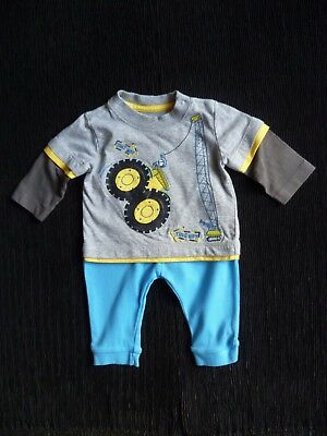Baby clothes BOY 0-3m outfit fun crane grey/yellow L/S top/soft blue trousers