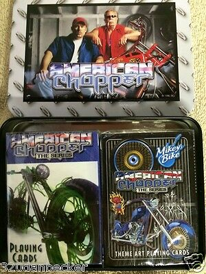 2007 American Chopper Playing Cards Metal CASE Unused Harley Davidson Mint Cond