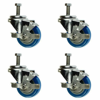 "3"" Swivel Casters w/Brake 1/2"" Threaded Stem - Blue Polyurethane Wheel  Set of 4"
