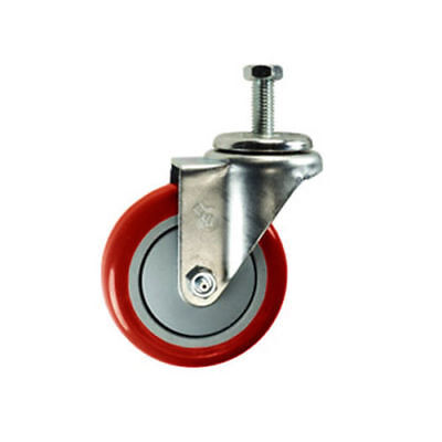 "4"" Threaded Stem Swivel Caster - Red Polyurethane Wheel - 1/2"" 13 x 1-1/2"""