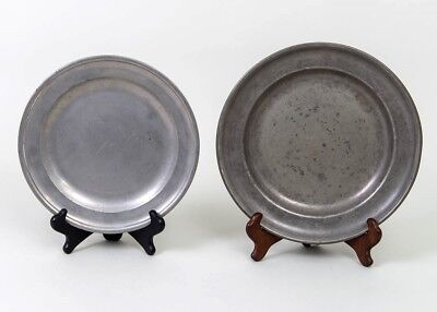 "Pair of 2 Antique Pewter Plates 9"" Edgar & Sons London 10"" Reed & Barton"