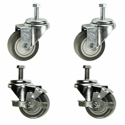 """3 Inch Swivel Casters - 2 with Brake - 3/8"""" Threaded Stem - 3"""" Non Marking"""