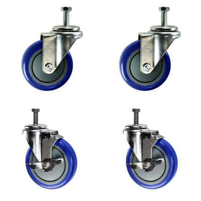 """4 Inch Swivel Casters - 2 with Brake - 3/8"""" Threaded Stem - 4"""" Non Marking Blue"""