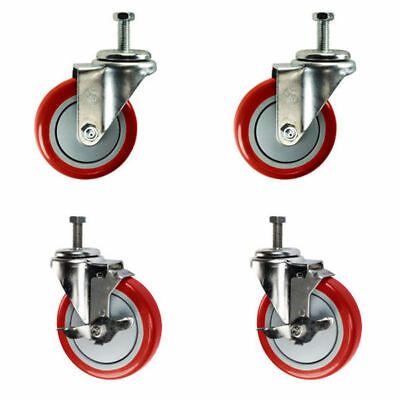"4 Inch Swivel Casters - 2 with Brake - 1/2"" Threaded Stem - 4"" Non Marking Red"