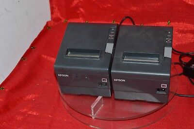 lot of two Epson printers receipt pos point of sale TM-T88V M244A w power supply