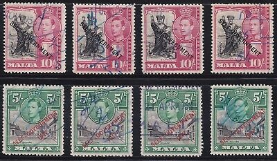1948 MALTA KGVI LOT 5s & 10s HIGH VALUES SELF-GOVERNMENT USED SG247/8 CV £120