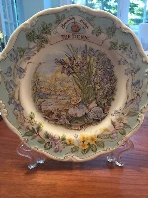 """Rare Royal Doulton """"The Picnic"""" China Plate Collectors Item w/ Stand"""