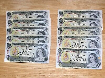 10 All different Prefix 1973 Crow & Bouey 1 Dollars Canadian bank notes USED