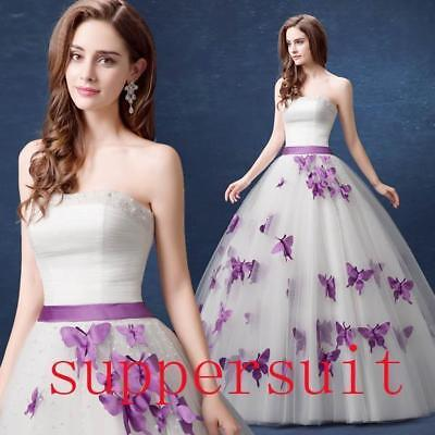 New Purple Butterfly Beads Tulle Bow Wedding Dress 2 4 6 8 10 12 14 16 18 B74588