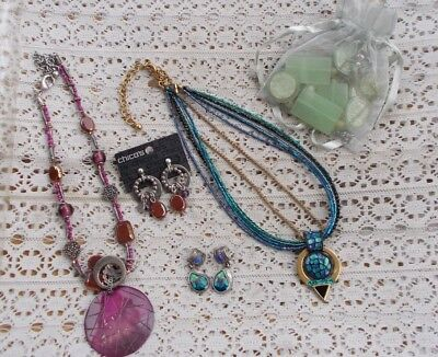 LOT Vintage Modern Jewelry Chicos Necklace Earrings SETS Deco Stones Jade Glass