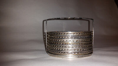 7 M Fred Hirsch sterling silver and glass coasters with caddy