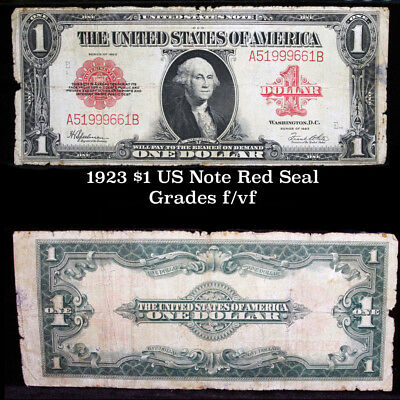 1923 $1 Large Size Red Seal United States note Horse Blanket Grades F/VF