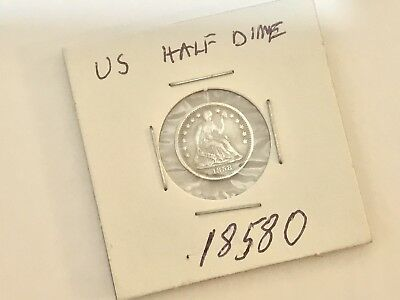 #2. US 1858 Seated Liberty 90% Silver Half Dime VF Old Coin Collection Lot