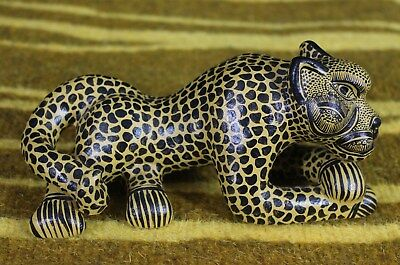 Gold & Black Jaguar Crossed Paws Hand Made Mayan Chiapas Mexico Folk Art Tribal