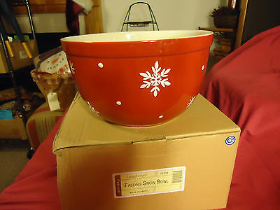 Longaberger Woven Traditions Pottery Holiday Falling Snow Bowl--New--SALE!!!