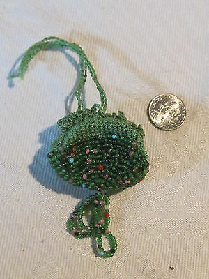 Vintage crocheted & micro beaded drawstring coin or French or German doll purse