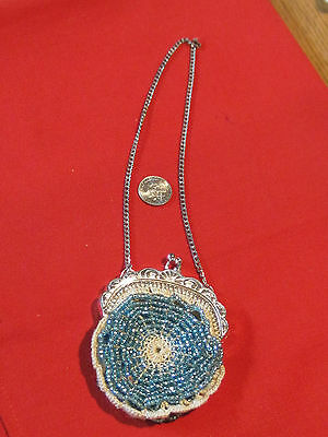 Antique blue beaded Art Nouveau coin purse French or German doll purse