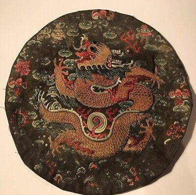 Antique Chinese Imperial Prince Dragon Rank Badge Roundel As-is Embroidered Qing