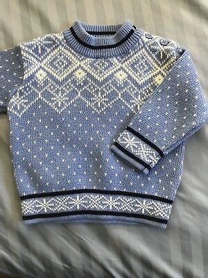 Hanna Andersson 70 4/5 sweater blue cable knit Snowflake Nordic EUC