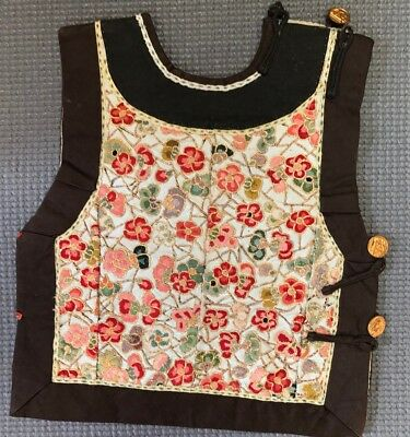 Unusual Child / Baby Chinese Antique Peking Knot Embroidered Vest Qing Prunus
