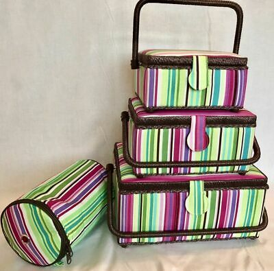 Sewing Box Basket Green / Pink / Purple Stripes - 3 Sizes - Craft Storage Gift