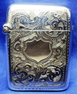 Small Victorian Solid Silver Ladies Vesta Case By W H Tandy ~ B'ham 1898