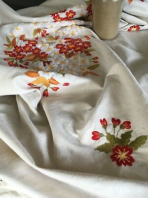 Antique Ecru Silk Embroidered Tablecloth
