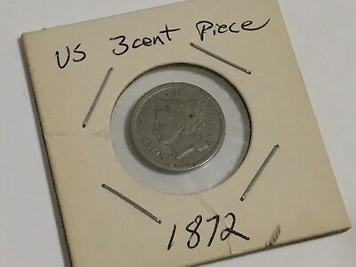 #13. US 1872 3 Cent Penny Nickel Piece from Estate Coin Collection Lot