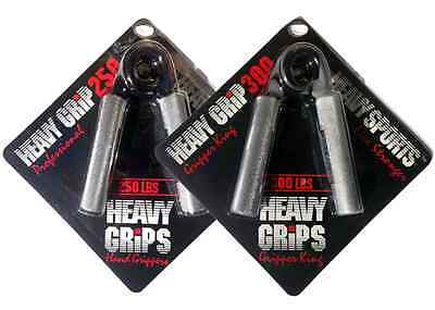 Heavy Grips Men's Hand Gripper Set - Sliver/Black, Size 250 & 300 Free Shipping