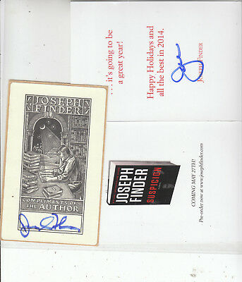 JOSEPH FINDER(author) SIGNED Book Plate & Book announcement card