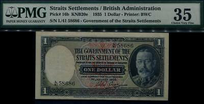 Straits Settlements $1 King George V Bank Note #p16b 1935. PMG 35 Choice VF