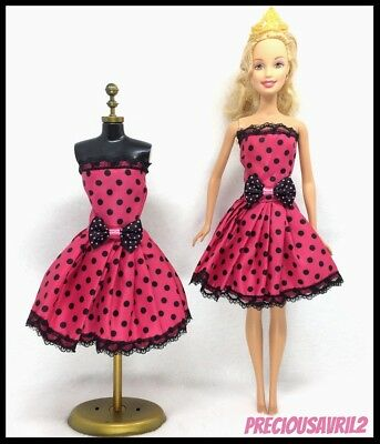 Barbie Doll Clothes - Red & Black Spotted Dress with bow & shoes.