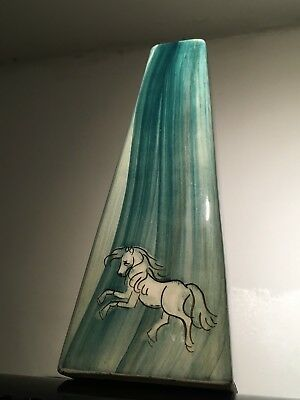 Pottery White Horse Blue Marbled Vase Pyramid