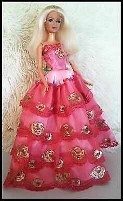 Barbie Doll Clothes - Pink & Gold Lace Evening Dress.