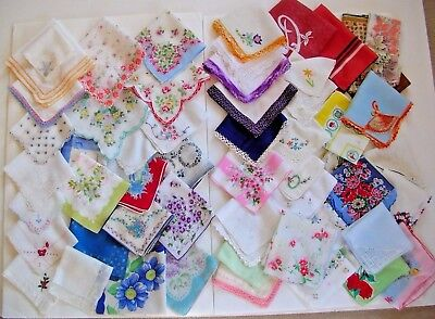 """Lot of 57 Vintage handkerchiefs hankies for crafts floral crochet lace+ """"as is"""