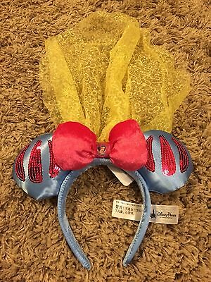 Disney Parks Snow White Ear Headband Veil Minnie Mouse Ears Sequin Disneyland