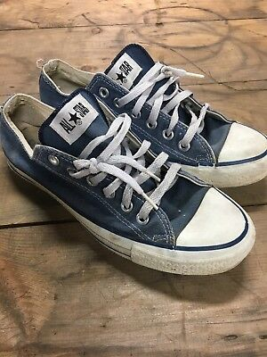 Vintage Made In Usa Converse Chuck Taylors Blue Low Tops Size 6