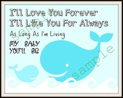 Blue Whale nursery print quote sweet mother and baby whale I'll Love You Forever