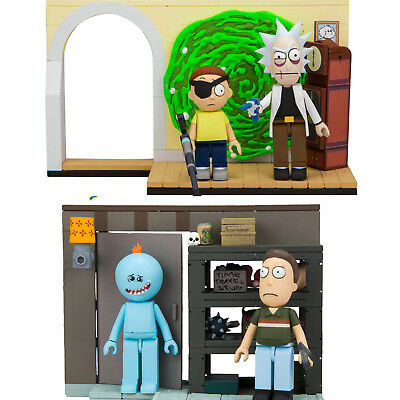 2 Set - Evil Rick and Morty Micro Toy Construction + Garage Jerry & Mr Meeseeks